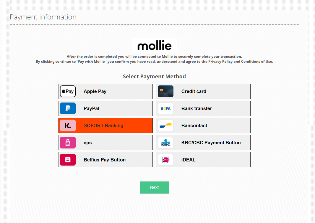 Payment Method Selection