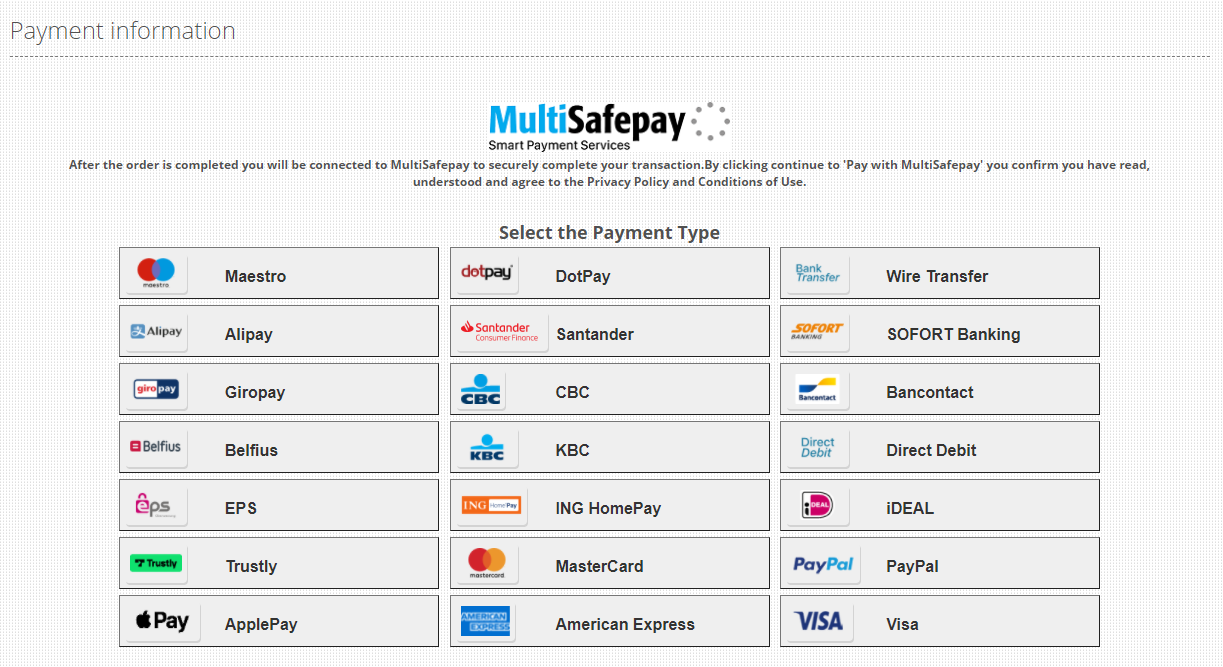 MultiSafepay Payment  Selection