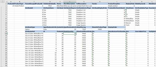 Excel Export Combination Attributes